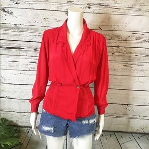 Vintage Wrap Top with Button Closure